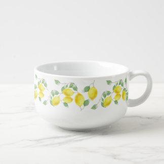 Elegant Watercolor Lemons & Blossoms Soup Mug