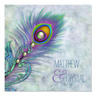 Elegant Watercolor Peacock Wedding Card