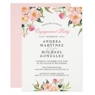 Elegant Watercolor Pink Floral Engagement Party Card