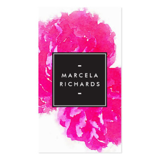 Elegant Watercolor Pink Peonies Pack Of Standard Business Cards