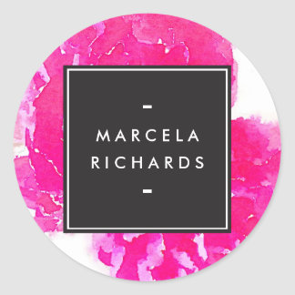 Elegant Watercolor Pink Peonies Classic Round Sticker