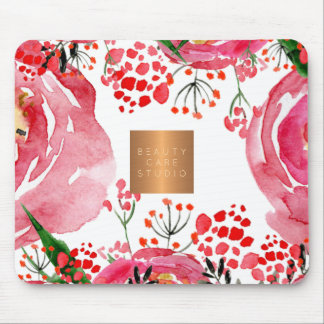 Elegant watercolor pink peonies copper metallic mouse pad