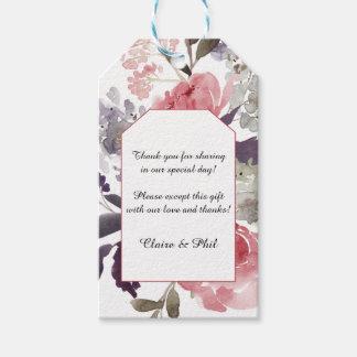 Elegant Watercolor Pink Peonies Thank You Tags