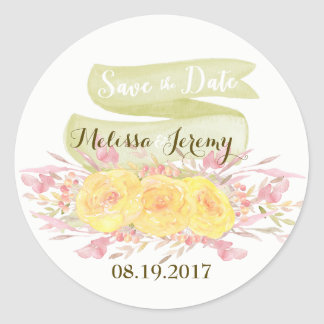 Elegant Watercolor Roses Wedding Stickers