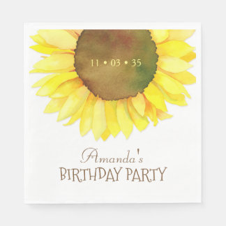 Elegant Watercolor Sunflower Birthday Party Paper Napkin