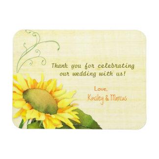 Elegant Watercolor Sunflower Wedding Thank You Rectangular Photo Magnet