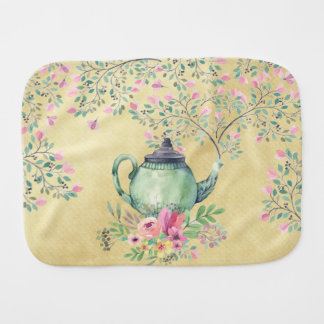 Elegant Watercolor Teapot and Flowers Gold Baby Burp Cloth