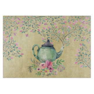 Elegant Watercolor Teapot and Flowers Gold Cutting Board