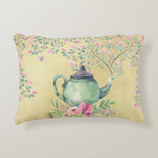 Elegant Watercolor Teapot and Flowers Gold Decorative Cushion