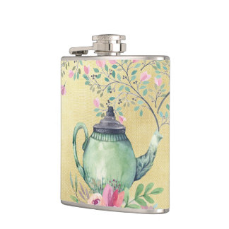 Elegant Watercolor Teapot and Flowers Gold Hip Flask