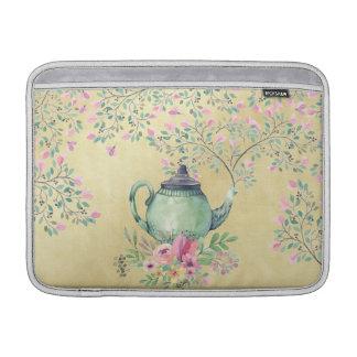 Elegant Watercolor Teapot and Flowers Gold MacBook Air Sleeve