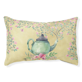 Elegant Watercolor Teapot and Flowers Gold Pet Bed
