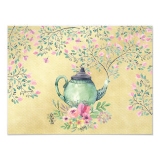 Elegant Watercolor Teapot and Flowers Gold Photo Print