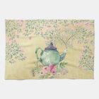 Elegant Watercolor Teapot and Flowers Gold Tea Towel