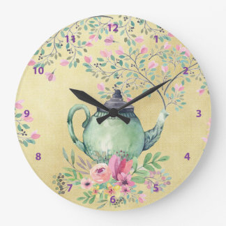 Elegant Watercolor Teapot and Flowers Gold Wall Clocks