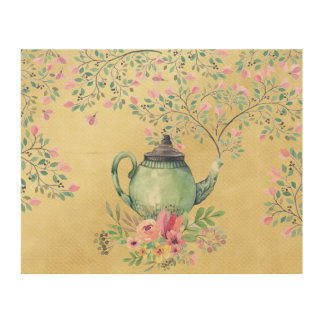 Elegant Watercolor Teapot and Flowers Gold Wood Wall Art