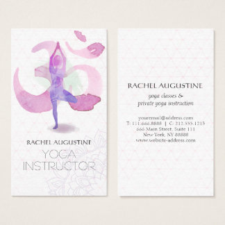 Elegant Watercolor Yoga Meditation Pose Om Symbol Business Card