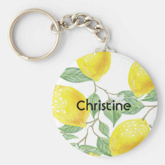 Elegant watercolored lemon pattern on white name key ring