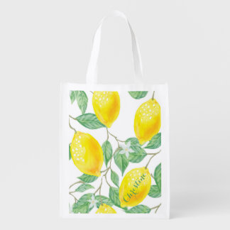 Elegant watercolored lemon pattern on white name reusable grocery bag