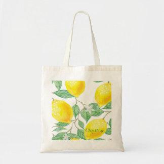 Elegant watercolored lemon pattern on white tote bag