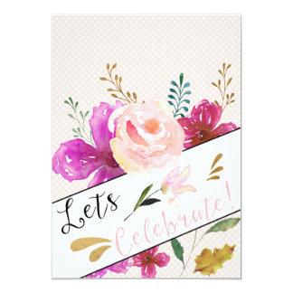 Elegant Watercolour Custom Birthday Invite
