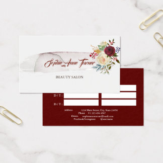 Elegant Watercolour Floral Burgundy Appointment Business Card