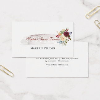 Elegant Watercolour Floral Burgundy Professional Business Card
