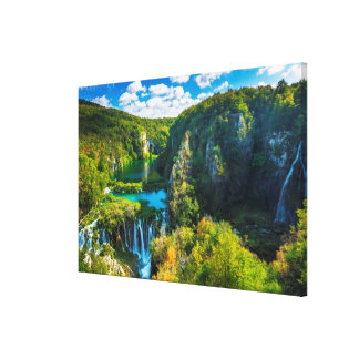 Elegant waterfall scenic, Croatia Canvas Print