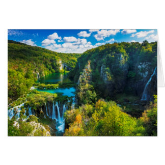 Elegant waterfall scenic, Croatia Card