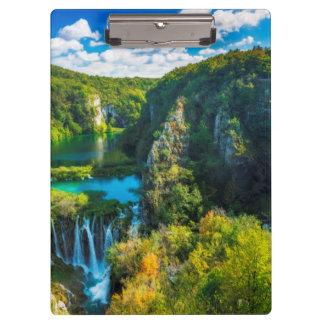 Elegant waterfall scenic, Croatia Clipboard