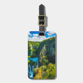 Elegant waterfall scenic, Croatia Luggage Tag