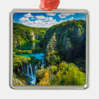 Elegant waterfall scenic, Croatia Metal Ornament