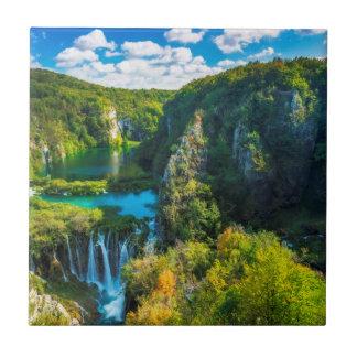 Elegant waterfall scenic, Croatia Tile