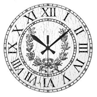 Elegant Weathered French Wreath Personalize Clocks