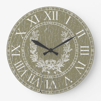 Elegant Weathered French Wreath Personalize Wall Clock