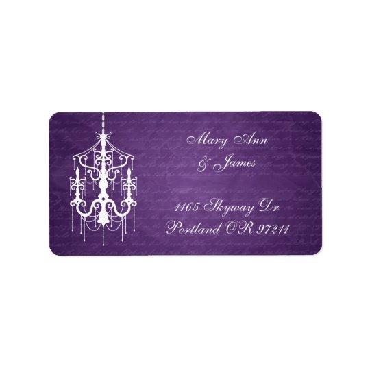 Elegant Wedding Address Chandelier Purple Address Label