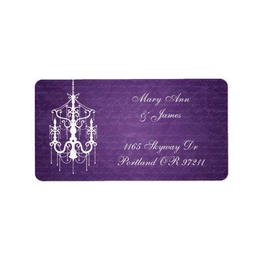 Elegant Wedding Address Chandelier Purple Label