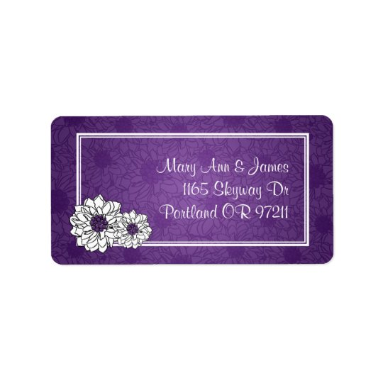Elegant Wedding Address Dahlia Floral Purple Label