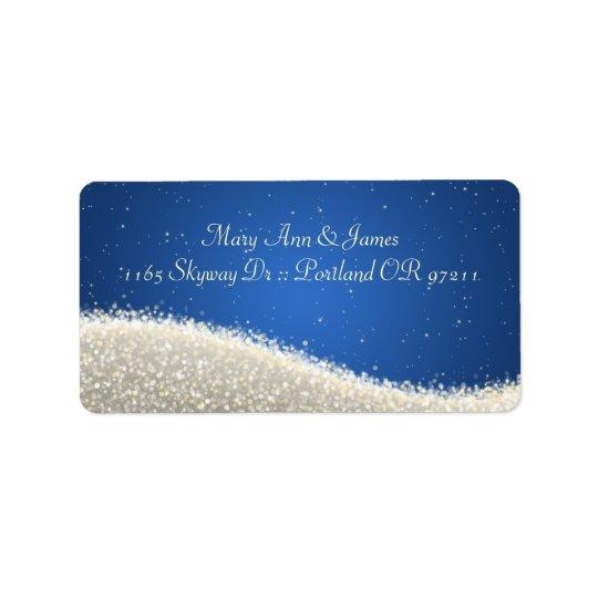 Elegant Wedding Address Dazzling Sparkles Blue Address Label