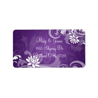 Elegant Wedding Address Floral Swirls Purple Address Label