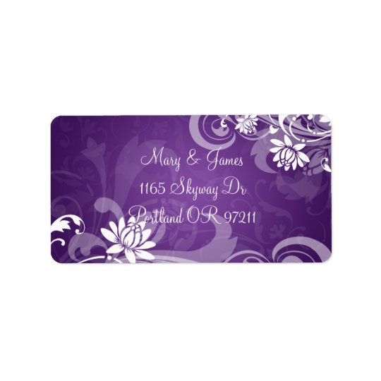 Elegant Wedding Address Floral Swirls Purple Label