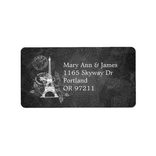Elegant Wedding Address Romantic Paris Black Address Label