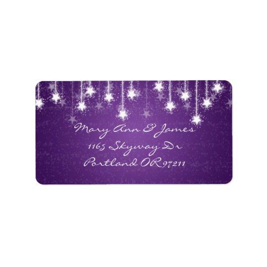 Elegant Wedding Address Shimmering Stars Purple Address Label