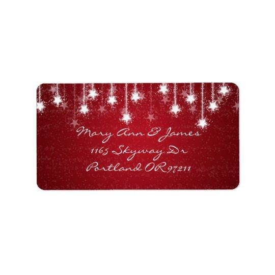 Elegant Wedding Address Shimmering Stars Red Address Label