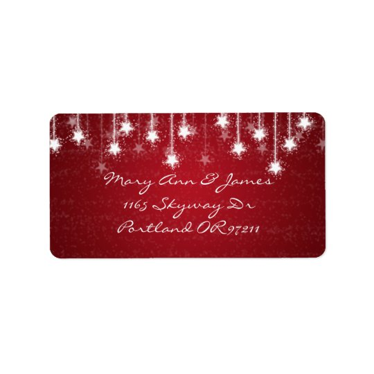 Elegant Wedding Address Shimmering Stars Red Label