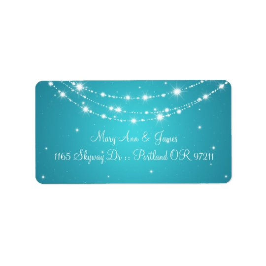 Elegant Wedding Address Sparkling Chain Blue Label