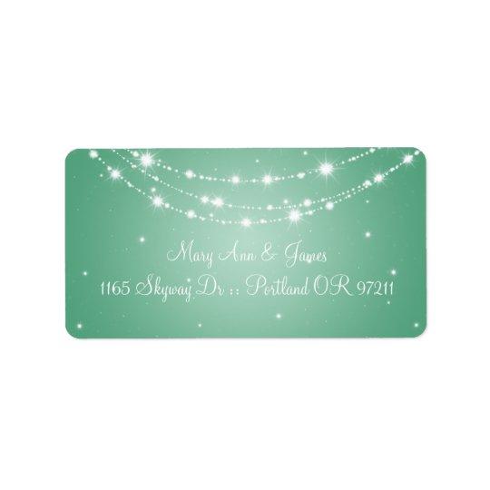 Elegant Wedding Address Sparkling Chain Mint Green Label