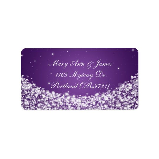 Elegant Wedding Address Star Sparkle Purple Address Label