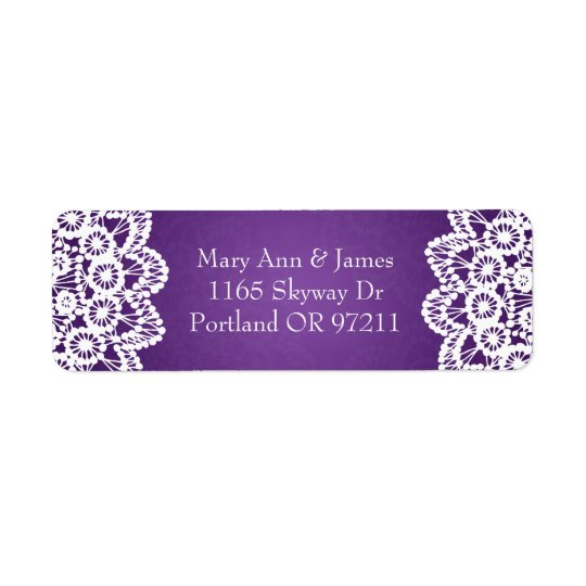 Elegant Wedding Address Vintage Lace Purple Return Address Label