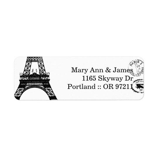 Elegant Wedding Address Vintage Paris Postcard Return Address Label